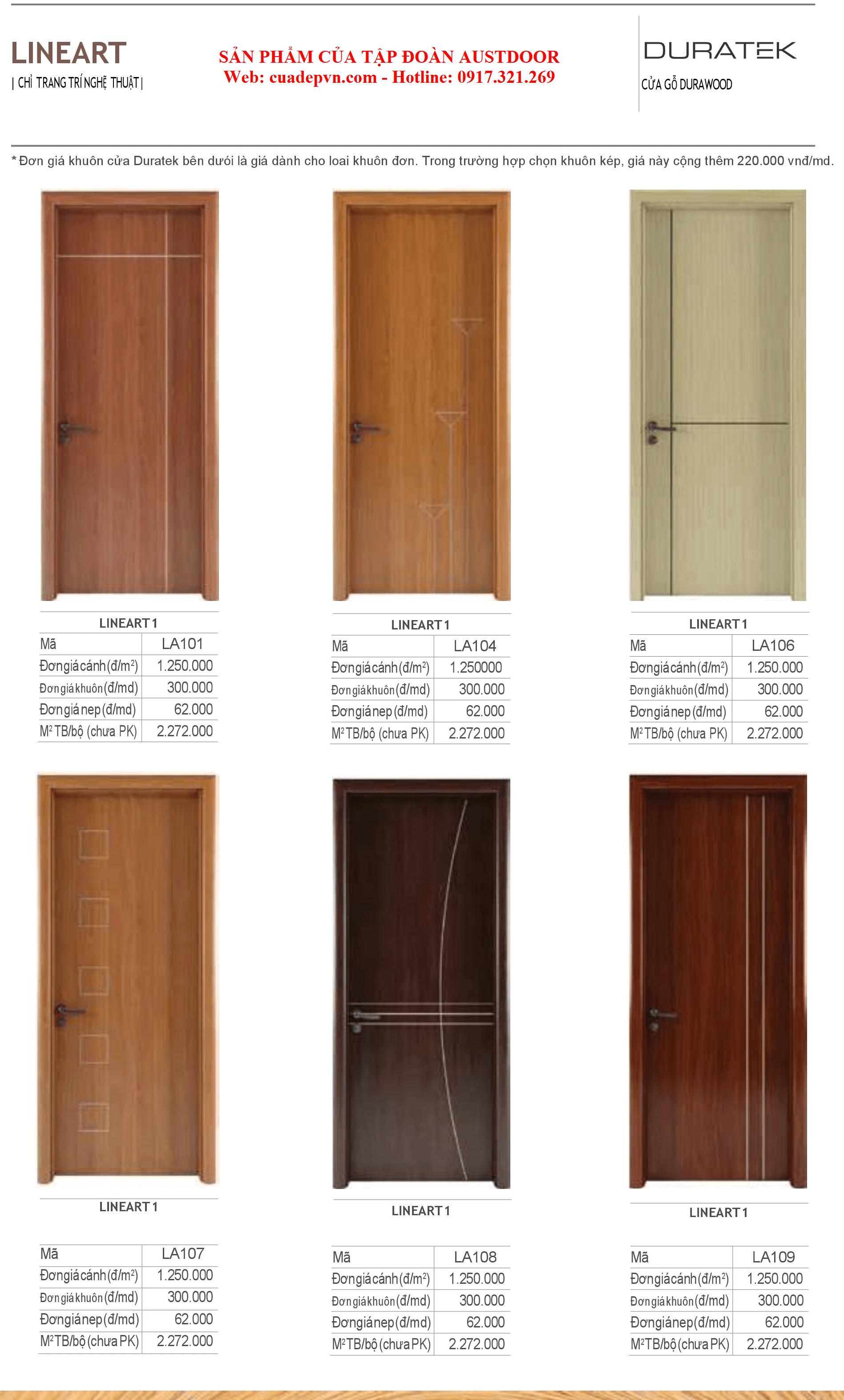 Lineart 1 - Cửa gỗ Chịu Nước DURATEK LineArt 101