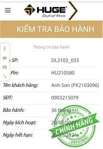 """Thong tin BH 1 - CỬA GỖ HUGE """"SẢN PHẨM CHÍNH HÃNG, BẢO HÀNH ĐIỆN TỬ 36 THÁNG"""""""