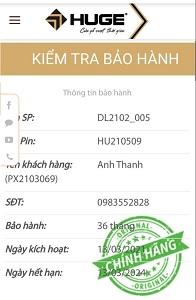 """Thong tin BH Anh Thanh 1 - CỬA GỖ HUGE """"SẢN PHẨM CHÍNH HÃNG, BẢO HÀNH ĐIỆN TỬ 36 THÁNG"""""""